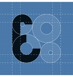 Round engineering font symbol e vector