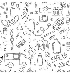 Seamless pattern hand drawn doodle medicine hand vector