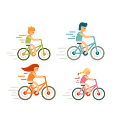 Set of bicycle rider in flat style modern family vector