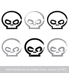 Set of brush drawing simple human skulls vector image vector image