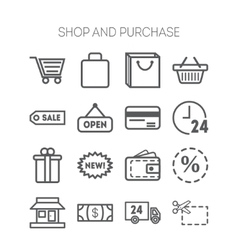 Set of simple icons for shop market bank and vector