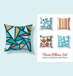 Set of throw pillows in matching unique vintage vector