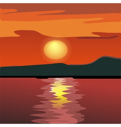 Sunset and mountain silhouette vector image