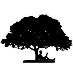 The man who is sitting under a tree and reading a vector