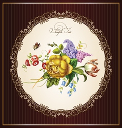 Vintage postcard with beautiful flowers vector image