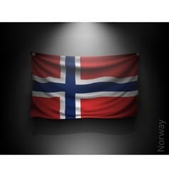 waving flag norway on a dark wall vector image vector image