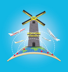 Windmill architecture with airplane and earth vector