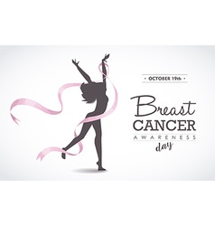Happy woman with breast cancer ribbon for support vector image