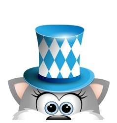 Cartoon funny gray cat in a bavarian hat card for vector
