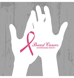 Ribbon of breast cancer on abstract wooden vector