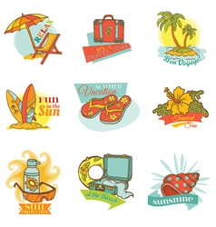 Set of vintage summer labels vector