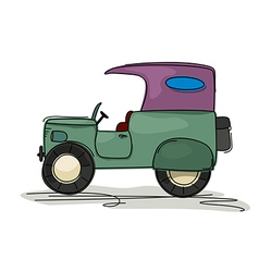 Vintage jeep cartoon vector