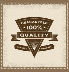Vintage 100 percent quality label vector