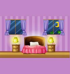 Bedroom scene with two windows vector