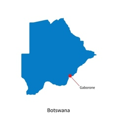 Detailed map of botswana and capital city gaborone vector