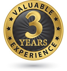 3 years valuable experience gold label vector
