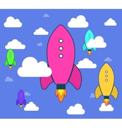 Rockets and white clouds icon in flat style vector