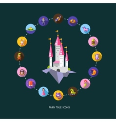 Set of fairy tales flat design magic icons and vector