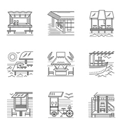 Thin line style cafe and bungalows icons vector