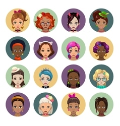 Cute cartoon girls avatars vector