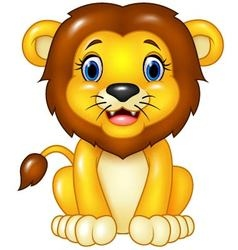 Happy cartoon lion sitting isolated vector image