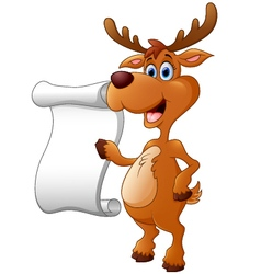 Deer presenting and blank sign vector