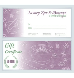 Spa massage gift certificate template vector