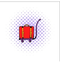 Luggage on trolley comics icon vector
