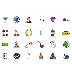 Game of chance colorful icons set vector