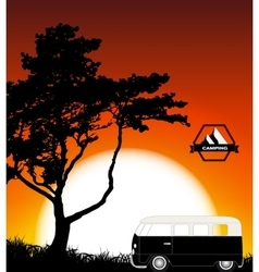 Cartoon minibus in nature a tree silhouette vector