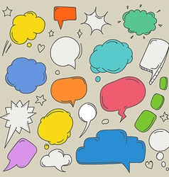 Set of hand-drawn comic style talk clouds template vector
