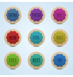 Set of 9 high detailed rounded stickers vector