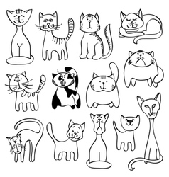Home pets cute cats in doodle style vector