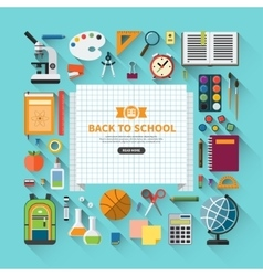 Back to school flat modern background vector image