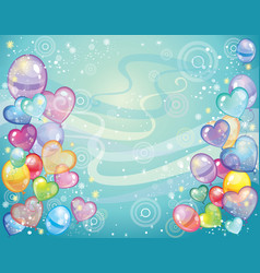 Background with balloons turquoise vector