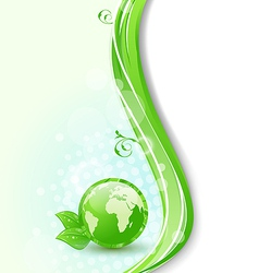 Background with global planet and eco green leaves vector image vector image