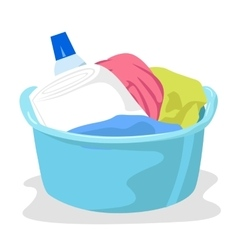 Basin full of laundry and detergents vector