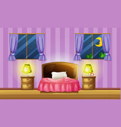 Bedroom scene with two windows vector