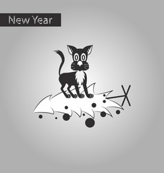 Black and white style icon of christmas tree cat vector