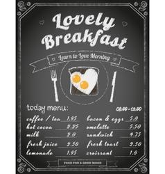 Breakfast menu on the chalkboard vector