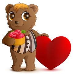 brown bear holding basket of raspberries greeting vector image