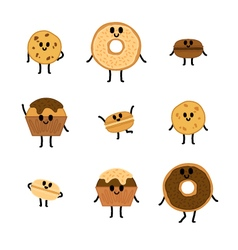 Chocolate pastry characters vector