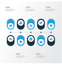 Climate colorful icons set collection of sunny vector