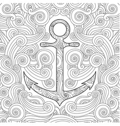 Coloring page with anchor in waves zentangle vector