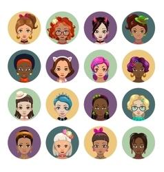 Cute cartoon girls avatars vector image vector image
