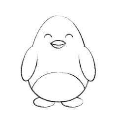 Cute sketch draw penguin cartoon vector