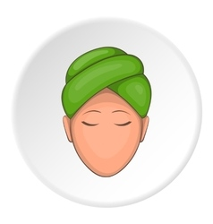 Face of girl on spa icon cartoon style vector