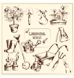 Gardening Sketch Set vector image
