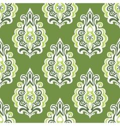 Green vintage seamless retro floral wallpaper vector