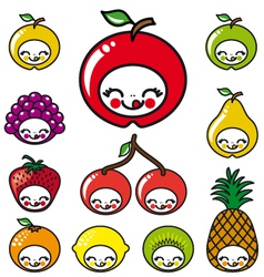 happy fruits faces vector image vector image